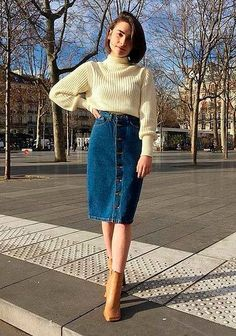 Midi Jeans Skirt: 25 Inspirations to Start Wearing This Piece Today!