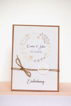 """**DIY Set """"Einladungskarten"""" für Eure Hochzeit** **Mindestbestellmenge** Die Mindestbestellmenge liegt bei 10 Karten! **Preisstaffelung** Preis pro Karte bei der Bestellmenge: 10 - 29..."""