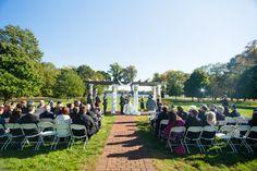 Outdoor Jewish wedding ceremony with white chuppah // Found on Modern Jewish Wedding Blog // Photographer:  Uncorked Studios, LLC