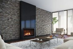 The Escea AF960 gas fireplace's sleek and minimalist style draws the eye to its spectacular flame.