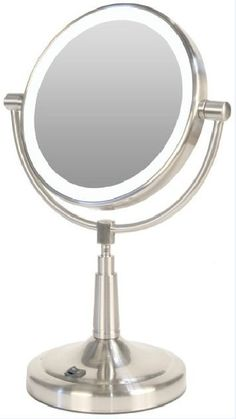 Vanity Mirror lighted Makeup 10x Mag Generation LED Cordless Double Sided Round Exciting New ...
