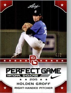HOLDEN GROFF 2015 Leaf Perfect Game NIKE All-American SHOWCASE RED Rookie #/5