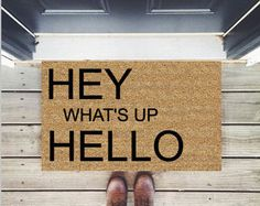 """Best Seller! """"Hey What's up Hello"""" - Hand-painted Coir Doormat by After Infinity"""