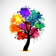 Beautiful rainbow colors on the tree.