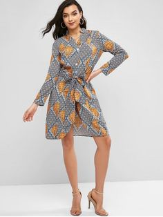 Add this breezy casual shirt dress to your favorite collection and upgrade your look that you'll love it. It covers floral and hydrogen balloons for plenty of fun and the cinched self-tie belt helps to slim the waist. Wrap Around Dress, Wrap Dress, Snake Skin Dress, Feminist Shirt, Belted Shirt Dress, Types Of Dresses, College Fashion, Chiffon Dresses, Dresses Dresses