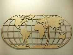 World Map Art Huge Wood Globe Wall Hanging Huge by SkylineWorkshop