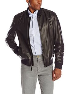 Cole Haan Men's Spanish Grainy Leather Varsity Jacket, Black, XX-Large Cole Haan ++ You can get best price to buy this with big discount just for you.++
