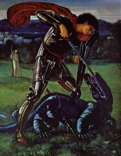St George and the dragon 1868 The Dream of Lancelot (Study) - Edward Burne-Jones - WikiArt.org