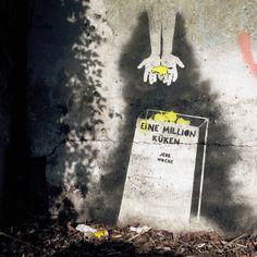 #veganstreetart by #fjodorrr About 1 million chicks are gassed and shredded every week in Germany for the production of eggs. // Jede Woche werden in Deutschland für die Produktion von Eiern ca. 1 Million Eintagsküken vergast und zerschreddert. #vegan, #streetart, #stencils, #graffiti, #animals, #carnism, #eggs, # chicks, #grave