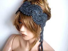 Knit headband, Crochet Hair Band, Grey Hair Band, Handmade, Luminous Hair Bands, Hair Accessories, Headband, Hair Band, Bandana by MimosaKnitting on Etsy