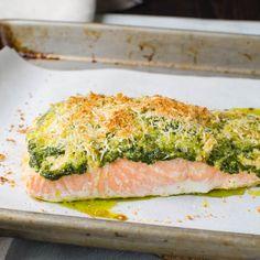 pesto salmon with parmesan breadcrumbs