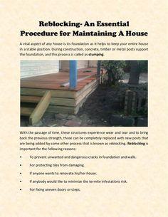 Reblocking- An Essential Procedure for Maintaining A House Best Sites, Stables, Melbourne, Concrete, Essentials, Construction, Flats, House, Building
