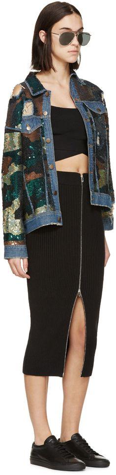 Ashish Green & Blue Sequined Camo Jacket