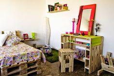 Mueblesdepalets.net: Dormitorio juvenil completamente amueblado con palets