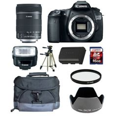 Canon EOS 60D w/Canon EF-S 18-135mm f/3.5-5.6 IS Lens + Deluxe Gadget Bag + Canon Hood + Canon Speedlite 270EX II Flash + Canon Battery + Tripod + UV Filter + 16GB SDHC Kit by Canon. $1499.95. The Specialty Bundle Includes:  1. Canon EOS 60D SLR w/Canon 18-135mm IS Lens. 2. Deluxe Gadget Bag. 3. Canon EW73B Lens Hood. 4. Canon Speedlite 270EX II. 5. Canon LPE6 Spare Battery. 6. Bower 67mm Pro DHD Essential UV Filter. 7. LexSpeed 16GB SDHC Class 10 Memory Card. 8. Belkin 6' HD...