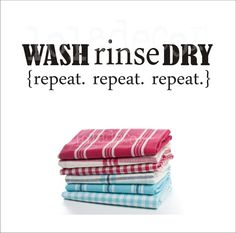 WASH RINSE DRY - repeat - kitchen decal- Vinyl Decal - Kitchen Wall Art - Lola Decor