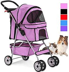 4 Wheels Pet Stroller Cat Dog Cage Stroller Travel Folding Carrier with Cup Holders and Removable Liner for Small-Medium Dog, Cat (Pink) Cat Stroller, Travel Stroller, Medium Sized Dogs, Medium Dogs, Inflatable Dog Collar, Dog Cages, Pet Gear, Small Cat, Pet Safe