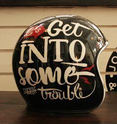 Let's get into some trouble! Motorcycle Helmet Design, Cafe Racer Helmet, Bobber Motorcycle, Motorcycles, Pinstriping, Cafe Racers, Biker Accessories, Biker Wear, Vintage Helmet