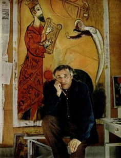 "Song of David, 1952- Marc Chagall in the foreground. ""When I am finishing a picture, I hold some God-made object up to it - a rock, a flower, the branch of a tree or my hand - as a final test. If the painting stands up beside a thing man cannot make, the painting is authentic. If there's a clash between the two, it's bad art."""