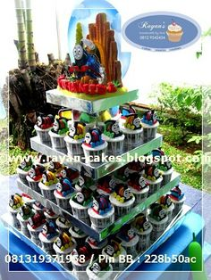 Thomas the train / the tank engine Fondant Cupcakes Tower by Rayan Cakes, Jakarta
