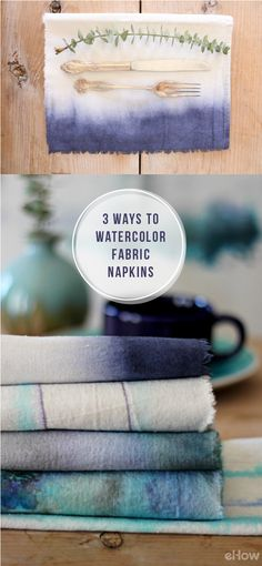 Use watercolor to make these beautiful fabric cloth designs. Your summer picnic and outdoor table needs this! Step by step instructions here: http://www.ehow.com/ehow-crafts/blog/3-ways-to-watercolor-fabric-napkins/?utm_source=pinterest.com&utm_medium=referral&utm_content=blog&utm_campaign=fanpage