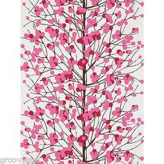 Buy Magenta, 13021 Marimekko Lumimarja Wallpaper from our Wallpaper range at John Lewis & Partners. Powder Room Wallpaper, Red Wallpaper, Wallpaper Online, Marimekko Fabric, Scandinavia Design, Lion Pictures, How To Make Curtains, Textile Patterns, Textiles