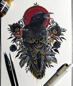 Only a poor memory works backwards Art Sketches, Art Drawings, Tattoo Und Piercing, Raven Art, Ink Art, Body Art Tattoos, Art Inspo, Amazing Art, Art Reference
