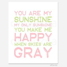 Baby Girl Nursery Print You Are My Sunshine Quote Wall by ofCarola, $15.00