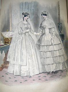 1850 Godey's wedding costume