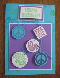 Fun Hippie Birthday card. GM