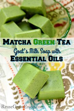Looking to try your hand at soap making? This is an easy one to start with! Check out this DIY for Matcha Green Tea & Goat's Milk Soap with Essential Oils. soap with essential oils Matcha Green Tea & Goat's Milk Soap with Essential Oils - Reuse Grow Enjoy Green Tea Soap, Matcha Green Tea, Matcha Milk, Green Tea Bath, Bath Tea, Soap Making Recipes, Homemade Soap Recipes, Essential Oils Soap, Pure Essential
