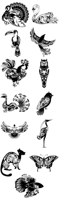 Illustrator, and designer Natalie Sklobovskaya has produced a set of tattoo-like animals, inspired by Indian and Slavic Art. Created on Photoshop as vectors, these animals are exquisitely patterned and intricately detailed.