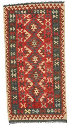 Kilim Afghan Old style rug 3′4″x6′9″