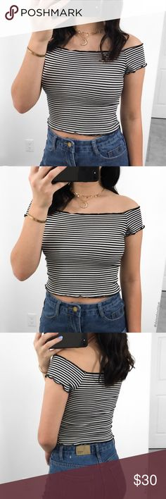 black and white striped off the shoulder crop top •size: S  •no trades  ⚠️ if this item does not fit you CANNOT return it - poshmark policy Daisys Boutique Tops Crop Tops