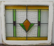 OLD ENGLISH STAINED GLASS WINDOW Geometric Design