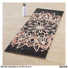 Shop Metallic Mandala Yoga Mat created by BeeBeeDeigner. Black Marble Background, Birthday Nails, Mandala Art, Yoga Inspiration, Event Planning, Cleaning Wipes, Modern Art, Color Schemes, Pop Art