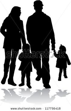 Family silhouette - stock vector