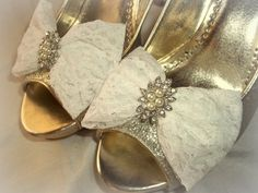 Wedding Bridal Lace Shoe Clips Pearl Rhinestone by ShoeClipsOnly