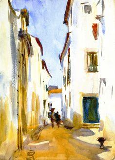 The Athenaeum - A Street Scene, Spain (John Singer Sargent - )