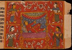 Attendants wear a variety of colours and patterns. Spots, stripes, crosshatch. Pink, orange, white, yellow, green, blue and a plethora of jewellery.    India, Gujarat  Reclining God with Attendants, Folio from a Samgrahanisutra (Book of Compilation), 1575-1600  LACMA Collections Online