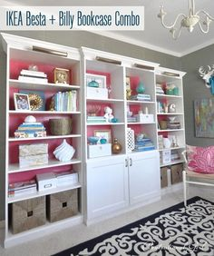 Customized Billy & Besta Bookcase Combo with instructions on how to do the crown molding for the top.