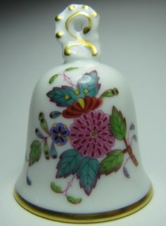 Herend Hand Painted Butterfly Floral Bell hungary guild small porcelain 1998 #Herend