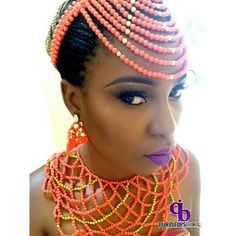 nigerian wedding coral bead head piece and necklace Nigerian Bride, Nigerian Weddings, African Beads, African Jewelry, African Attire, African Dress, African Women, African Fashion, Chee Chee