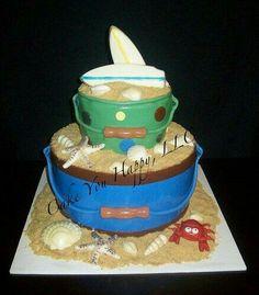 Sand pails for a baby shower Hawaiian Luau Party, Hawaiian Cakes, Beautiful Cakes, Amazing Cakes, Beach Cakes, Cake & Co, Cupcake Cookies, Cupcakes, Elegant Cakes