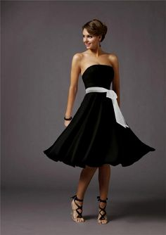 Black And White Wedding Dress Short Gown - also would be cute as bridesmaid