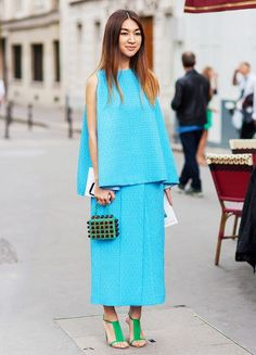 blue matching set with statement clutch