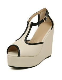 00ebb64072 1970's black, open toe, ankle strap, wedge shoe | Retro Apricot T-Strap  Piping PU Leather Wedge Shoes For Woman $$23.99 .
