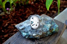 Sterling Ring. Bone Eagle and turquoise. Size 7 ring. by Arrok