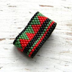 Peyote ring  wide band ring delica seed beads by Anabel27shop: