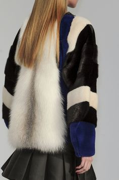 patchwork fur jacket